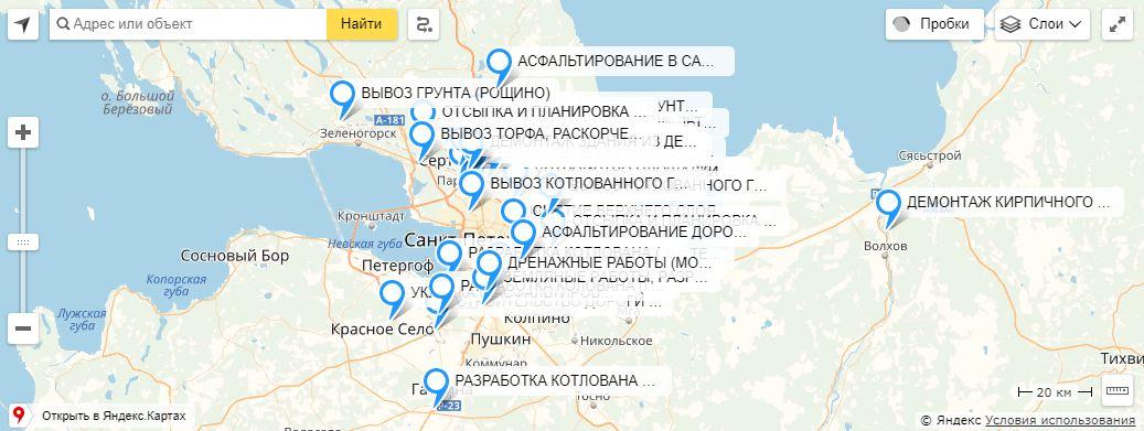 Портфолио работ на карте Ленинградской области